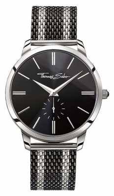 Thomas Sabo Mens Rebel Spirit Two Tone Steel Mesh Strap Black Dial WA0267-280-203-42