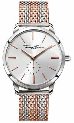 Thomas Sabo Mens Rebel Spirit Two Tone Rose Gold Steel Mesh Strap WA0270-283-201-42