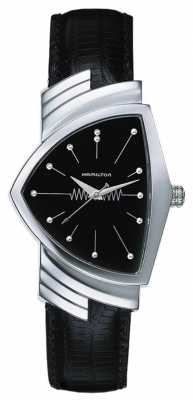 Hamilton Mens Ventura Quarts Black Leather Strap Black Dial H24411732
