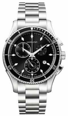 Hamilton Mens Jazzmaster Seaview Black Chronograph Dial H37512131