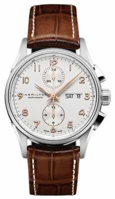 Hamilton Mens Jazzmaster Maestro White Chronograph Dial Leather Strap H32576515