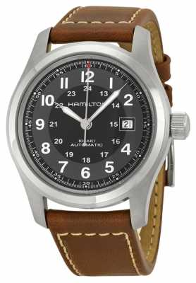 Hamilton Mens Khaki Field Auto 42mm Black Dial Brown Leather Strap H70555533