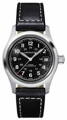 Hamilton Mens Khaki Field Auto Black Strap Black Dial H70455733