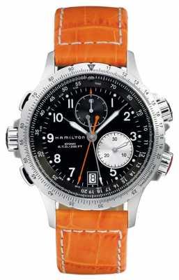 Hamilton Mens Khaki ETO Flyback Orange Leather Strap H77612933