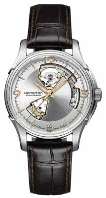 Hamilton Mens Jazzmaster Open Heart Brown Leather Strap Silver Dial H32565555