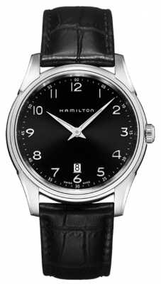 Hamilton Mens Jazzmaster Thinline Black Leather Strap Black Dial H38511733