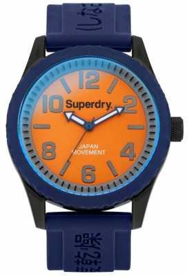 Superdry Mens Tokyo Blue Rubber Strap Orange Dial SYG146UO