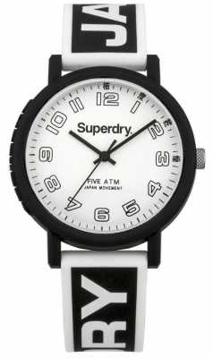 Superdry Mens Campus Black Rubber Strap White Dial SYG196BW