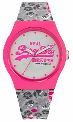 Superdry Womens Urban Floral Pink And Grey Rubber Strap White Dial SYL169EP