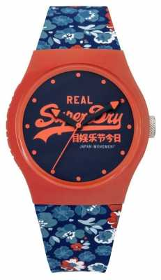 Superdry Womens Urban Floral Blue And Orange Rubber Strap Blue Dial SYL169UCO