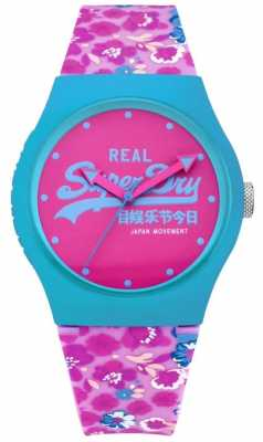 Superdry Womens Urban Floral Pink And Blue Rubber Strap Pink Dial SYL169UP
