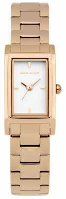 Karen Millen Womens Rose Gold Plated Stainless Steel Bracelet White Dial KM114RGM