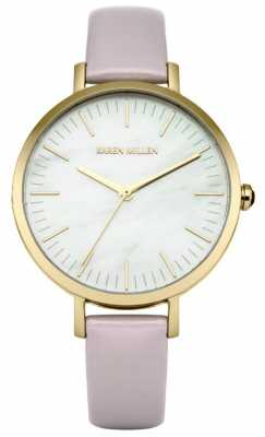 Karen Millen Womens Lavender Leather Strap Mother Of Pearl Dial KM126VG