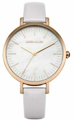 Karen Millen Womens Lilac Leather Strap Mother Of Pearl Dial KM126PRG