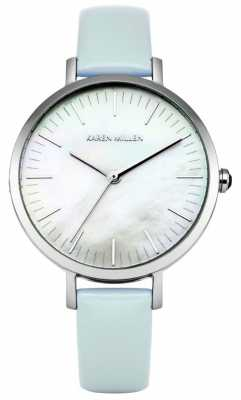 Karen Millen Womens Blue Leather Strap Mother Of Pearl Dial KM126U