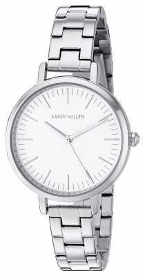 Karen Millen Womens Stainless Steel Bracelet White Dial KM126SM