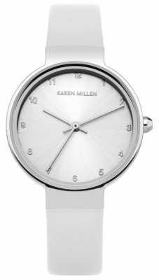 Karen Millen Womens White Leather Strap Silver Dial KM131W