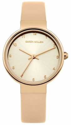 Karen Millen Womens Rose Gold Leather Strap Rose Gold Dial KM131CRG
