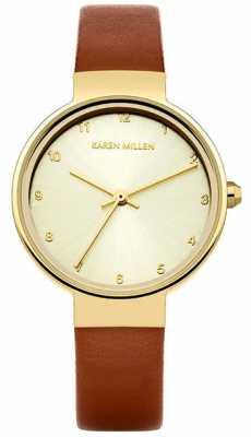 Karen Millen Womens Brown Leather Strap Rose Gold Dial KM131TG