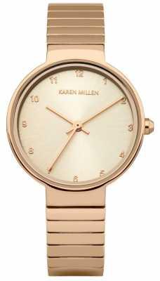 Karen Millen Womens Rose Gold Plated Stainless Steel Bracelet KM131RGM