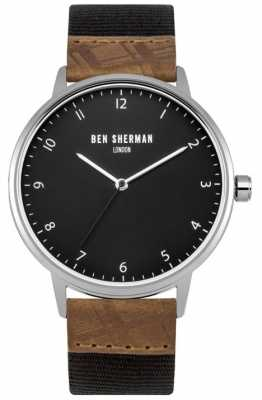 Ben Sherman Mens Portobello Heritage Black Leather And Fabric Strap WB049TE
