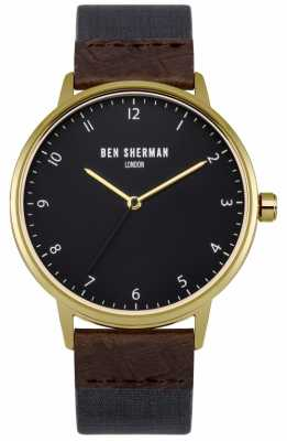 Ben Sherman Mens Portobello Heritage Brown Leather And Blue Fabric Strap WB049UG