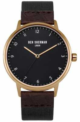 Ben Sherman Mens Portobello Heritage Leather And Fabric Strap Black Dial WB049BRG