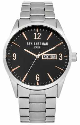 Ben Sherman Mens Stainless Steel Black Dial WB053BSM