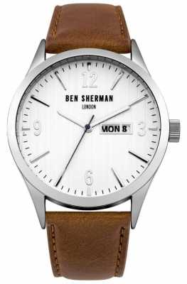 Ben Sherman Mens Brown Leather Strap White Dial WB053T