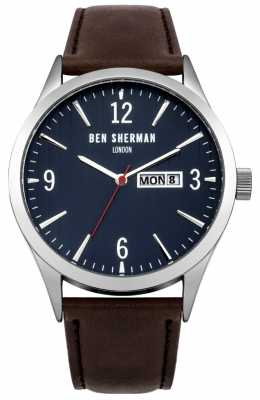 Ben Sherman Mens Brown Leather Strap Blue Dial WB053BR