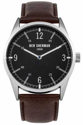 Ben Sherman Mens Brown Leather Strap Black Dial WB051BR