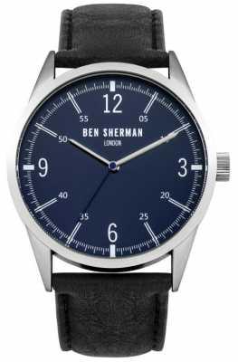 Ben Sherman Mens Black Leather Strap Navy Blue Dial WB051UB
