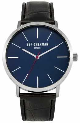 Ben Sherman Mens Black Leather Strap Blue Dial WB054B