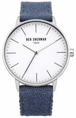 Ben Sherman Mens Blue Fabric Strap White Dial WB009UA