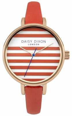 Daisy Dixon Womens Lauren Orange Leather Strap Orange And White Dial DD025ORG