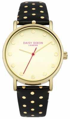 Daisy Dixon Womens Candice Black Leather Strap Gold Dial DD022BG