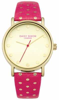 Daisy Dixon Womens Candice Pink Leather Strap Gold Dial DD022OG