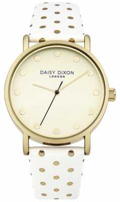 Daisy Dixon Womens Candice White Leather Strap Gold Dial DD022WG