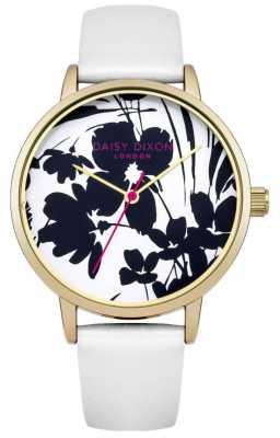 Daisy Dixon Womens Jessica White Leather Strap Floral Dial DD023WG
