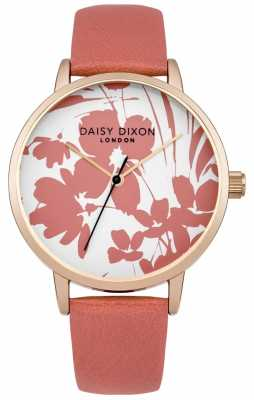 Daisy Dixon Womens Jessica Coral Leather Strap Floral Dial DD023PRG