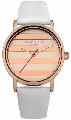 Daisy Dixon Womens Poppy White Leather Strap Rose Gold Dial DD009WRG