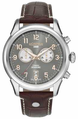 Roamer Mens Soleure Chronography Brown Leather Strap Grey Dial 540951490605