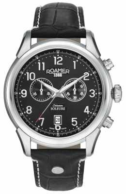 Roamer Mens Soleure Chronography Black Leather Strap Black Dial 540951415605