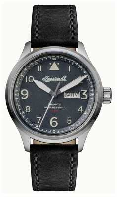 Ingersoll Mens Discovery The Bateman Black Leather Strap Grey Dial I01802
