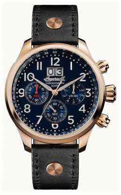 Ingersoll Mens Discovery The Delta Black Leather Strap Blue Dial I02401