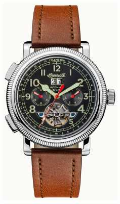 Ingersoll Mens Discovery The Bloch Brown Leather Strap Black Dial I02602