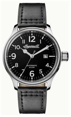 Ingersoll Mens Discovery The Apsley Grey Leather Strap Black Dial I02701