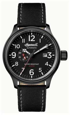 Ingersoll Mens Discovery The Apsley Black Leather Strap Black Dial I02801