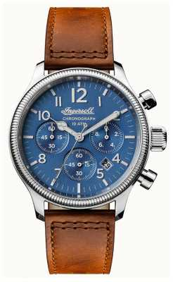 Ingersoll Mens Discovery The Apsley Brown Leather Strap Blue Dial I03801
