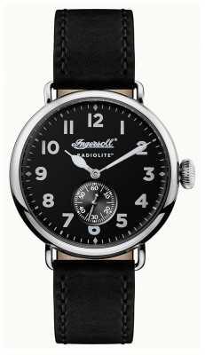 Ingersoll Mens Radiolite The Trenton Black Leather Strap Black Dial I03201